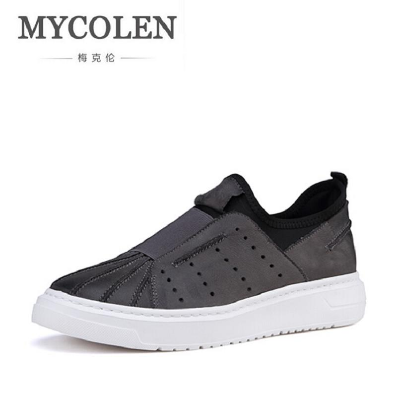 MYCOLEN Casual Shoes Men Genuine Leather Shoes Soft Comfortable Male Footwear Men's Shoes Brand Black Loafers Mocassin Homme vesonal 2017 quality mocassin male brand genuine leather casual shoes men loafers breathable ons soft walking boat man footwear