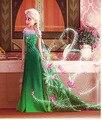 2015 ropa niña fiebre Elsa Anna Vestido de la princesa de halloween partido de los niños del Vestido del cabrito del Vestido verde Elsa traje vestidos