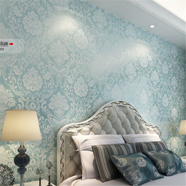 Beibehang Wallpaper Roll Wallcovering Metallic Damask Classic Wall Paper  Blue Background Wall Wallpaper For Living Room