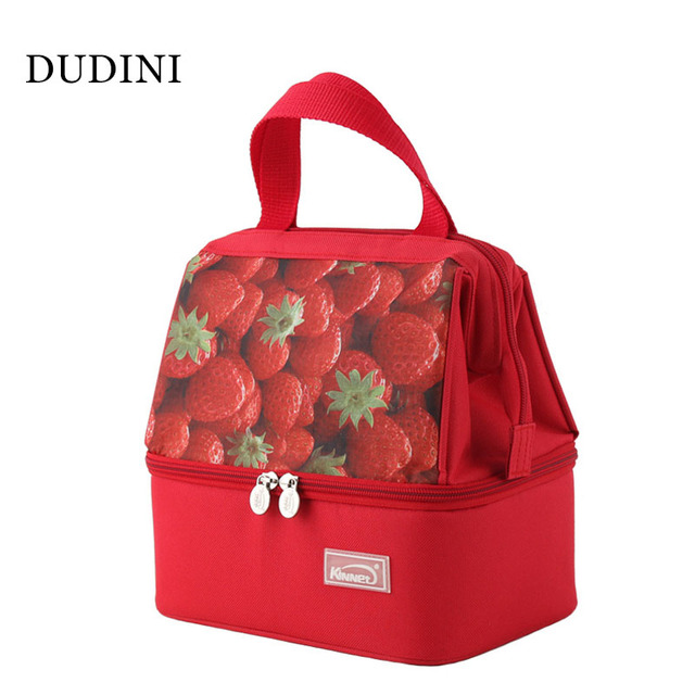 DUDINI Strawberry Pattern Lunch Bags Practical Oxford Cloth Insulation Bag Casual Style Portable Picnic Bag Lunch Bags For Women