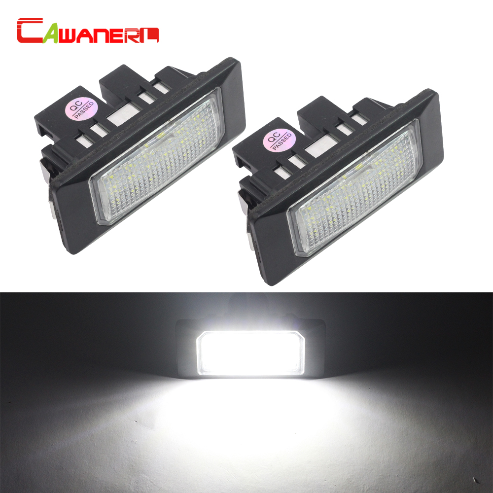 Cawanerl For Audi A1 A6 S6 A7 TT For VW Golf Jetta Passat Polo Sharan Touran Touareg 2 X Car LED Number License Plate Light 12V contrast eyelash lace t shirt