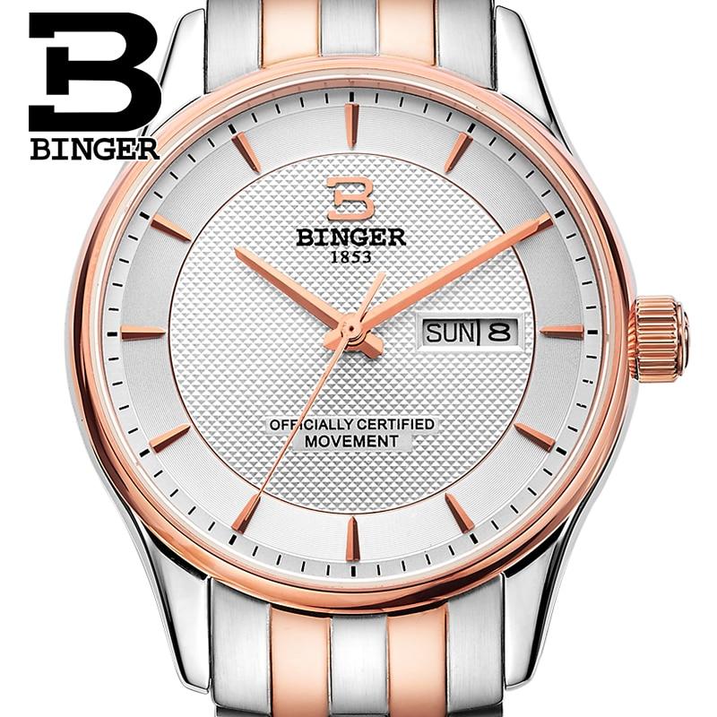 Genuino Suiza Binger marca hombres automático mecánico viento de zafiro  reloj Explorer correa de cuero calendario impermeable 1c1b0c4f9d2