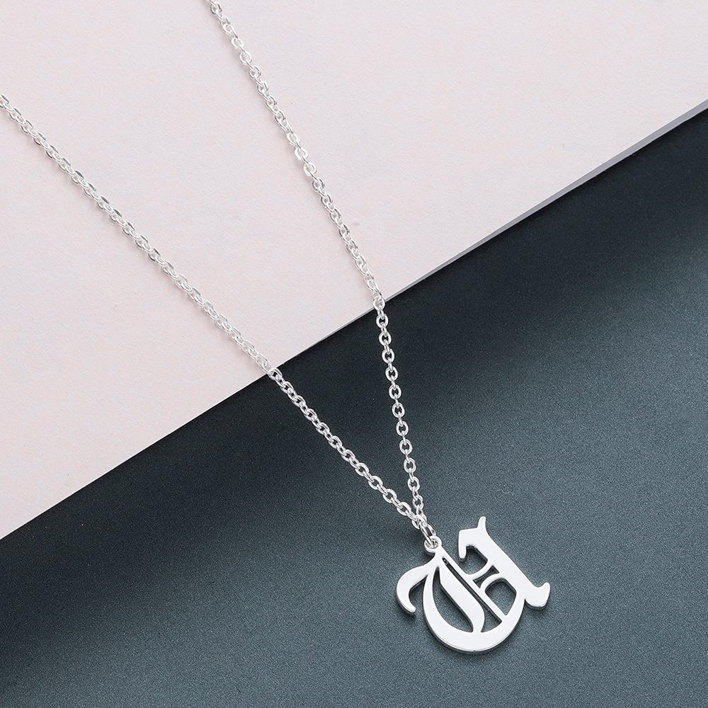 Todorova Old English Custom Capital Initial A-Z Letter Pendant Necklace Men Vintage Font Personalized Necklace Women Jewelry 61