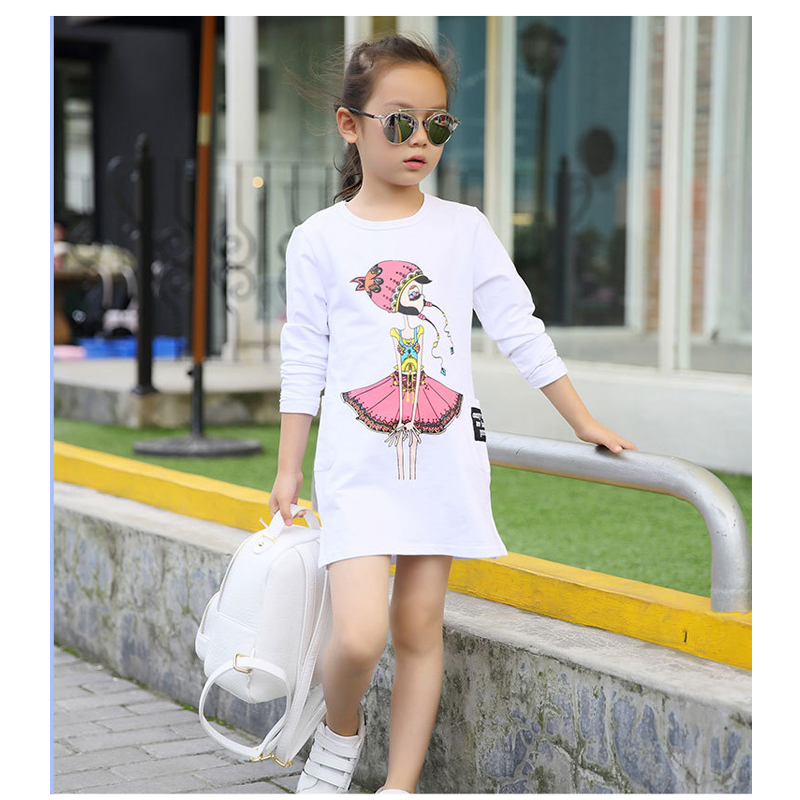 2018 New Child Clothing Spring Autumn cotton bottoming Dress Girls Fashion Printing long-sleeved Clothes Baby Casual sportswear little maven brand new girls autumn spring long sleeved o neck fashion rabbits printed cotton cute casual dresses