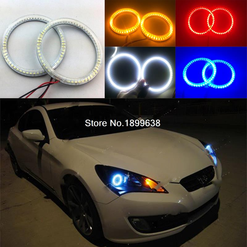 Super bright red blue yellow white 3528 smd led angel eyes halo rings car styling for Hyundai Genesis Coupe 2010 2011 2012 -2014 92mm ext diameter 2pcs super bright led angel eyes rings with dimming function white red orange green blue optionally