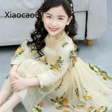 Costume Kids Spring Summer Girls Dress Fashion Children Princess Dresses for Girls Embroidery Print Party Dress Kid Clothes 2019