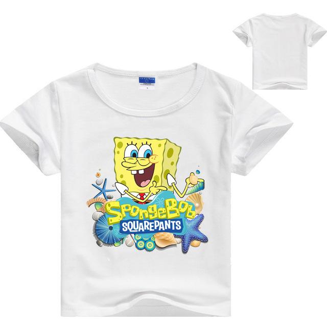 Cartoon Sponge Bob T Shirt Boys Girls 2018 Summer Children's Clothing Cotton Toddler Girl Tops Tee Boy Kids T-shirt 3-14Y