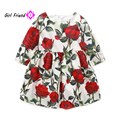 2017 New Spring Autumn Girls Clothes Long Sleeve Rose Flower Kids England Style Dresses