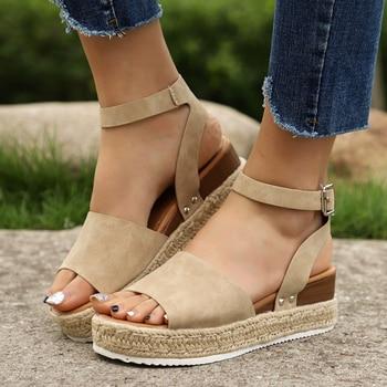 SHUJIN 2019 Wedges Shoes For Women Sandals Plus Size High Heels Summer Shoes Flip Flop Chaussures Femme Platform Sandals 24