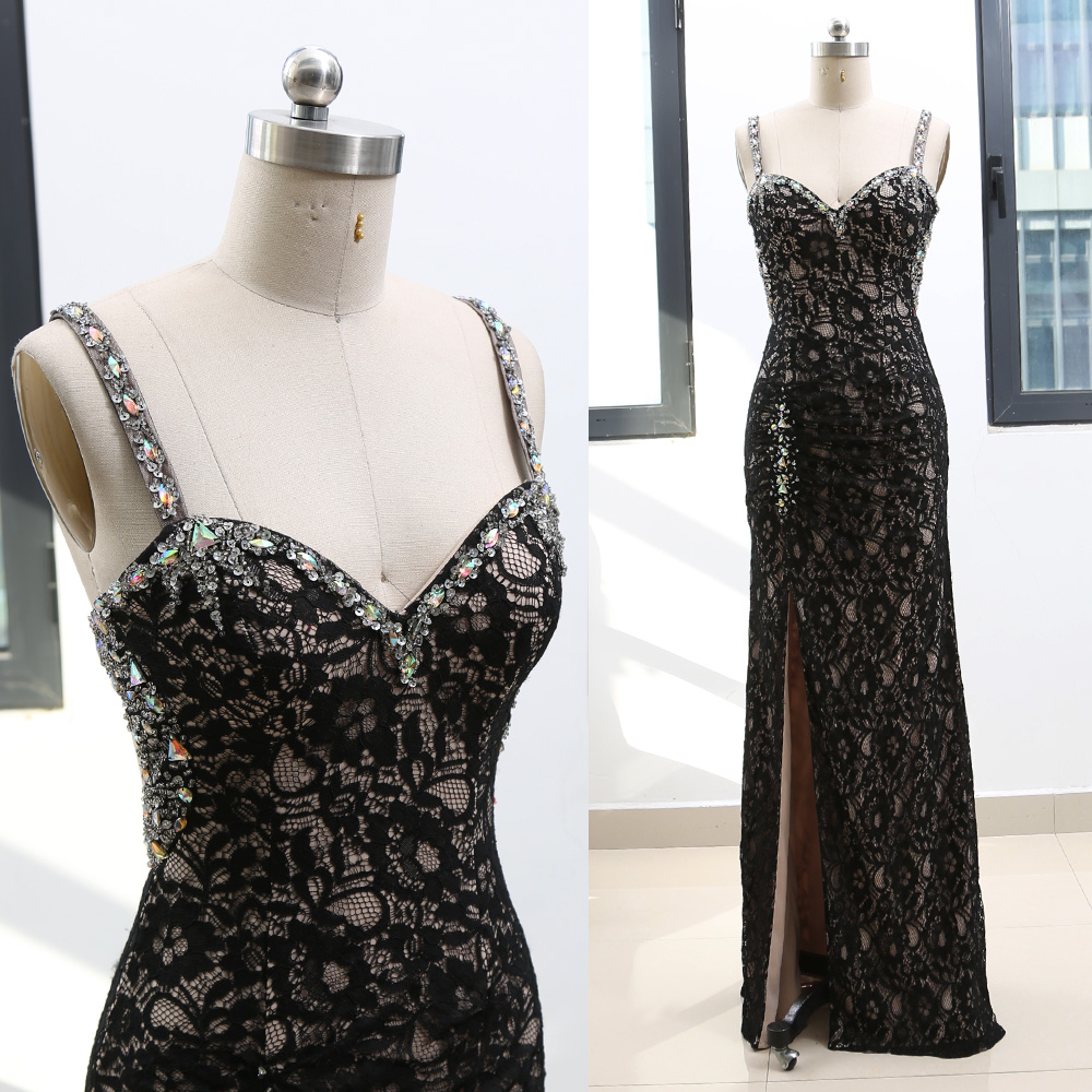 MACloth Black A-Line Strap Floor-Length Long Crystal Lace   Prom     Dresses     Dress   S 264646 Clearance