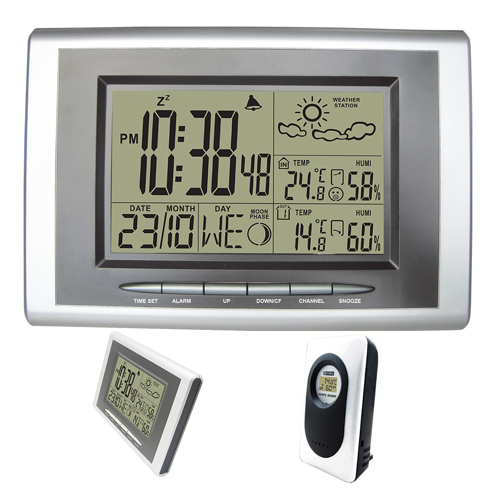 DYKIE Digital Alarm Clock Radio Controlled Sensor RCC DCF Wireless Weather Station with Indoor Outdoor Thermometer Hygrometer indoor outdoor digital thermometer hygrometer dykie rcc wireless weather station with alarm clock weather forecast wholesale