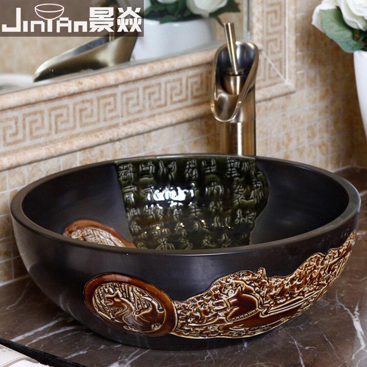 Цзиндэчжэнь керамическая черная ручная резная художественная раковина для туалета