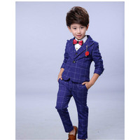 2018 NEW 3pieces Boys Suits for Weddings Cotton Plaid Blazer+Vest+Pants Kids Clothing Sets Spring Autumn Boys Clothes
