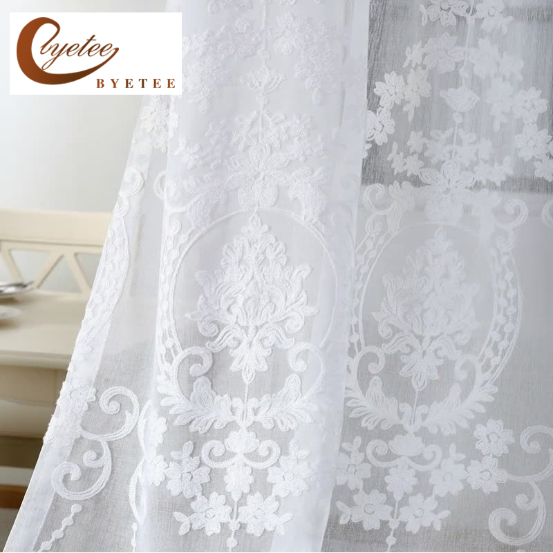 [byetee] Embroidered White Voile Tulle Sheer Curtains Encryption Curtains Bedroom Window Curtain Living Room Rideaux Voilage