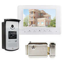 DIYSECUR Electric Lock 7 inch Wired Video Door Phone Doorbell Home Security Intercom System RFID Camera White