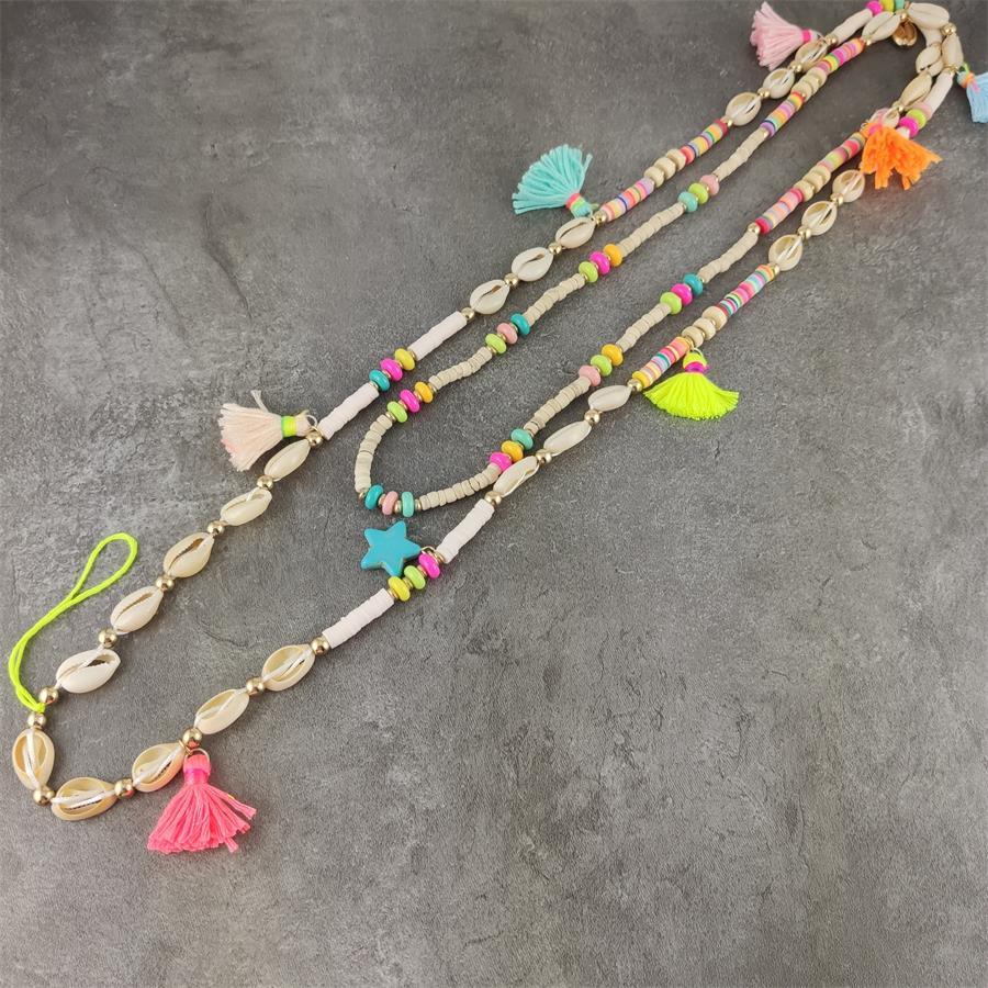 Künstliche Shell Halskette Multifunktions ID Arbeit Karte Seil Kette Handy Hängende Kette Lanyard boho sommer berufung