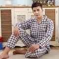 2017 Primavera Outono Inverno Men 100% Algodão Conjuntos de Pijama de Sleepcoat & calças Adulto Roupa do Hospital & Marca Homewear Plus Size 3XL