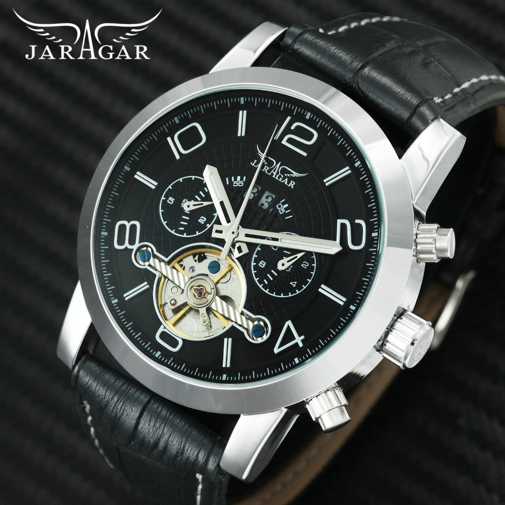 лучшая цена JARAGAR Top Brand Luxury Tourbillon Watch Men Automatic Mechanical Mens Watches Sub-dials Display Leather Skeleton Wristwatch