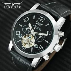 JARAGAR Top marka luksusowy zegarek tourbillon mężczyźni automatyczne mechaniczne męskie zegarki sub-tarcze wyświetlacz skórzany szkielet zegarek
