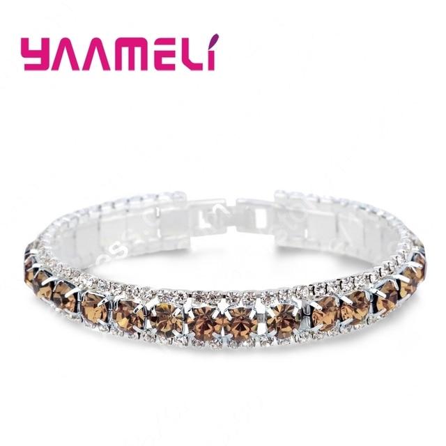 Top Sale 925 Sterling Silver Bracelets Full AAA Zircon Austrian Crystal Femme Women Link Chain Jewelry Bangles 14 Colors
