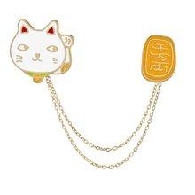 Broche de chat en émail, dessin animé drôle, Maneki Neko blanc, broche de chat porte-bonheur japonais, bijoux Badge de Lapin