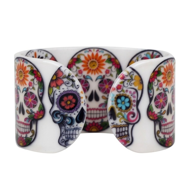Bonsny Plastic Floral Halloween Smile Skeleton Skull Bangles Bracelets Punk Indian Craft Jewelry For Women Girls Teens Accessory 3