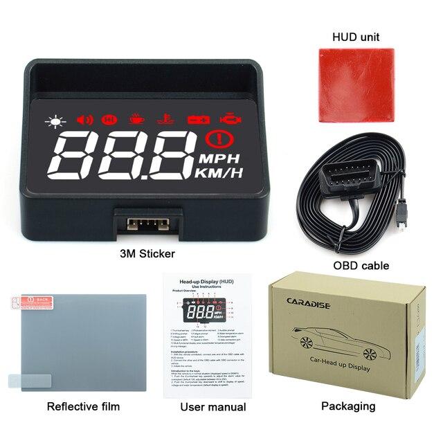 חם!! רכב HUD הראש למעלה תצוגה A100s OBD2 השני EUOBD Overspeed אזהרת מערכת מקרן שמשה קדמית אוטומטי אלקטרוני מתח מעורר