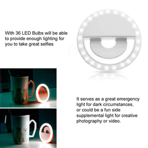 Image 4 - 2019 Selfie Ring Light USB Charge Selfie Portable Flash Led Camera Phone Photography Ring Light Enhancing Photography for iPhone