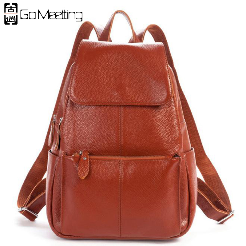 Go Meetting High Quality Genuine Leather Women's Backpack Natural Soft Cowhide Women Shoulder School Bag Zipper Travel Backpacks
