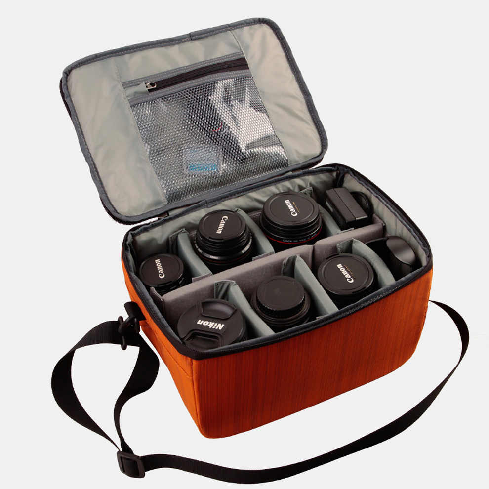 Roadfisher Waterproof Protect Camera Shoulder Bag Insert Partition Dividers Case Fit 1 DSLR 5 Lens Canon Nikon Sony Pentax DSLR