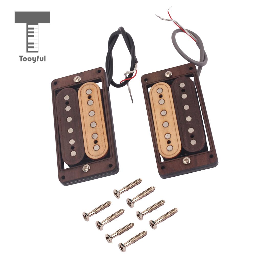 Tooyful Replacement Maple Humbucker Pickup Bridge Neck Set for ST SG Electric Guitar tooyful set guitar pickup double coil humbucker alnico 5 rosewood for sg st fender electric guitar diy