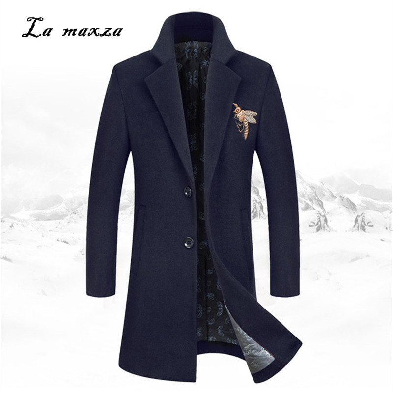 Mens Coats Dress Winter Plus-Size Casual Fashion Slim Smart Formal Embroidery