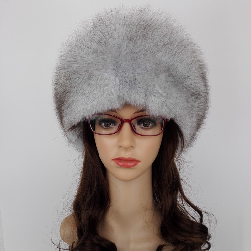(TopFurMall) Women Nature Real Fox Fur Fedoras Hats Leather Cover Winter Caps Fashion Ear Protector Headgear LF4044