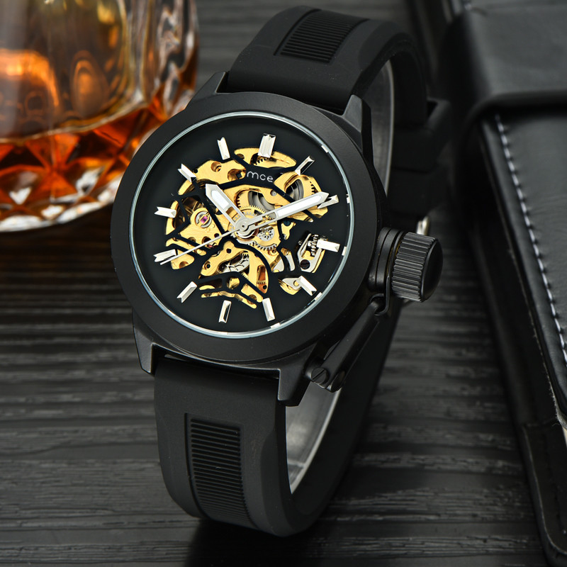 цена на MCE Brand Number Sport Design Golden Watch Mens Watches 2018 Top Brand Luxury Montre Homme Clock Men Automatic Skeleton Watch
