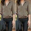 2016 Autumn Women Army Green Shirt Sexy Fashion Loose Shirt Casual Shirt Clothes Chiffon Pockets Button Blusas Feminino