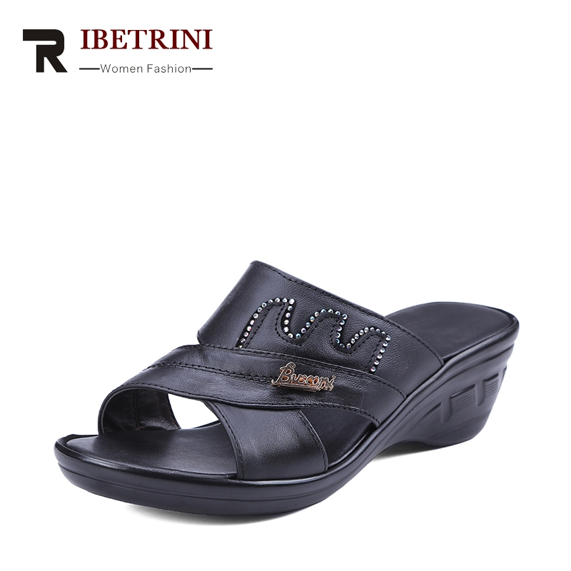 RIBETRINI Summer Comfortable Cow Leather Slippers Platform Med Wedges Slides Rhinestore Casual Women Shoes Large Size 34-40