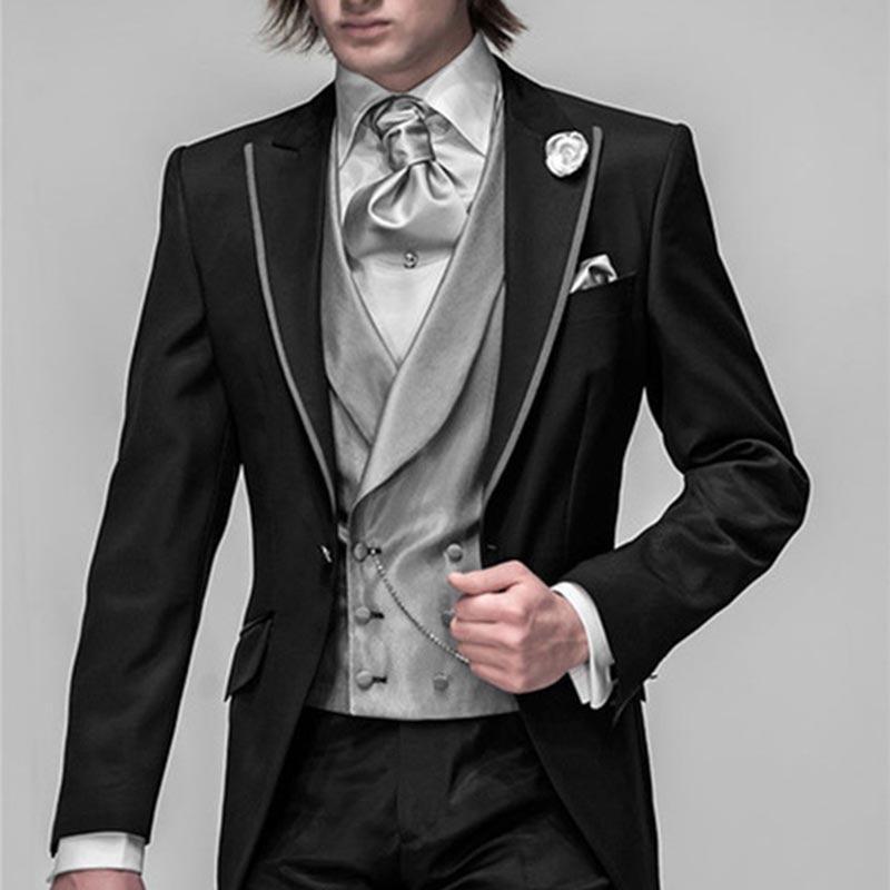 2017 New Black Groom Tuxedo Groomsmen Wedding Dinner Evening Mens Suits Best Man Bridegroom Men Suit (Jacket+Pants+Tie+Vest)