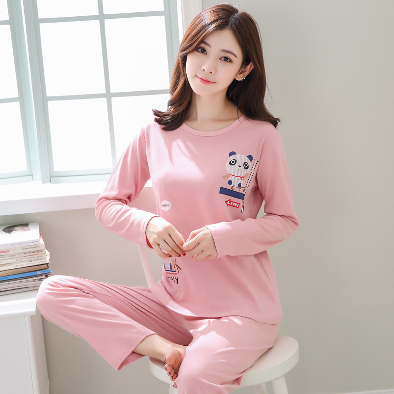 2019 Women Pajamas Sets Autumn Winter New Women Pyjamas Cotton Clothing Long Tops Set Female Pyjamas Sets NightSuit Mother Sleep 90