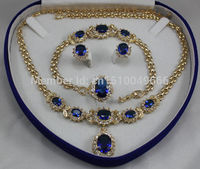 Hot sale FREE SHIP>>>Bridal jewelry blue zircon STONE plated Necklace Earring Ring8 Bracelet