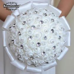 Kyunovia Белый Свадебные цветы Свадебные букеты невесты Buque Де Флорес Искусственный Розовый Блеск Кристалл Букеты Свадебные a0001
