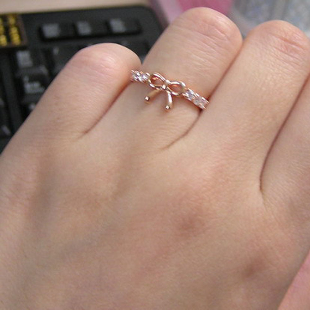 2018 Luxury Lovely Bow Rings Ladies Crystal Rings Fashion Finger Rings For Women Female Party R Accessory Jewelry