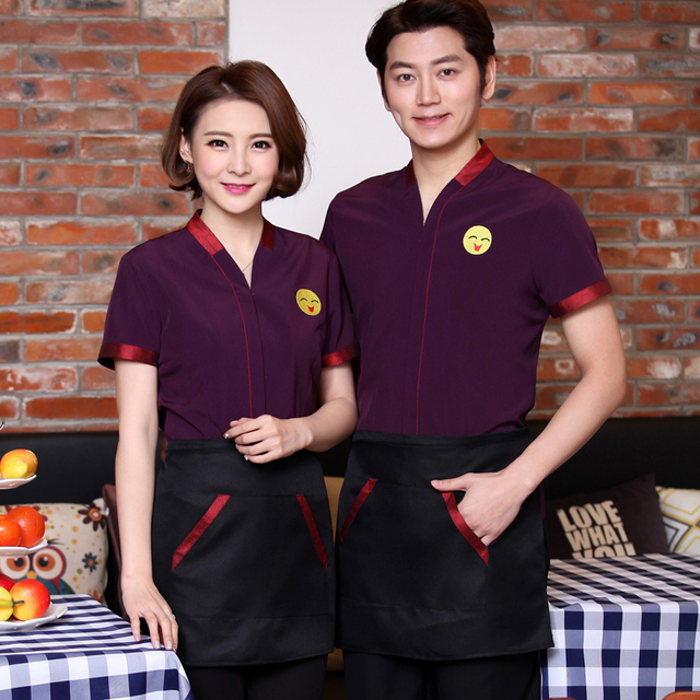 Hotel uniforme de manga corta verano restaurante camarero comida rápida  uniformes casa Bordado manga corta ropa 9d7a943997699