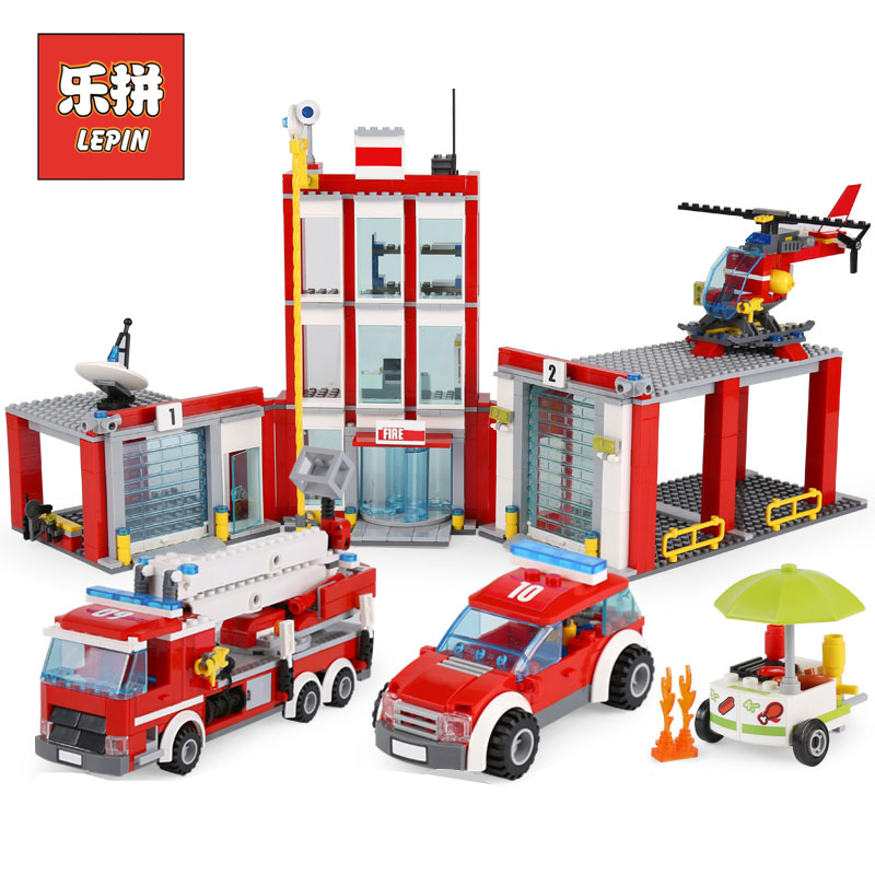 Lepin 02052 City Series the Fire Station Truck Rescue Vehicle 60110 Building Blocks Bricks Educational Boy Toy Christmas Gift 407pcs sets city police station building blocks bricks educational boys diy toys birthday brinquedos christmas gift toy