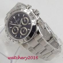 PARNIS black dial sapphire glass cermaic bezel Chronograph quartz mens watch все цены