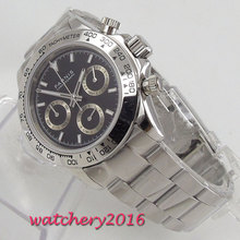 PARNIS black dial sapphire glass cermaic bezel Chronograph quartz mens watch стоимость