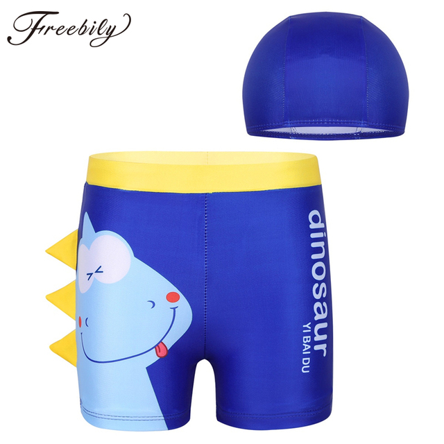 Kids Boys Cartoon Dinosaur Pattern Drawstring Swimwear Summer Beachwear Board Shorts Swim Trunks with Cap Bathing Suit