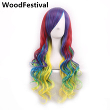 Lolita wig purple pink brown green blonde red curly halloween wigs for women gradient long hair synthetic WoodFestival