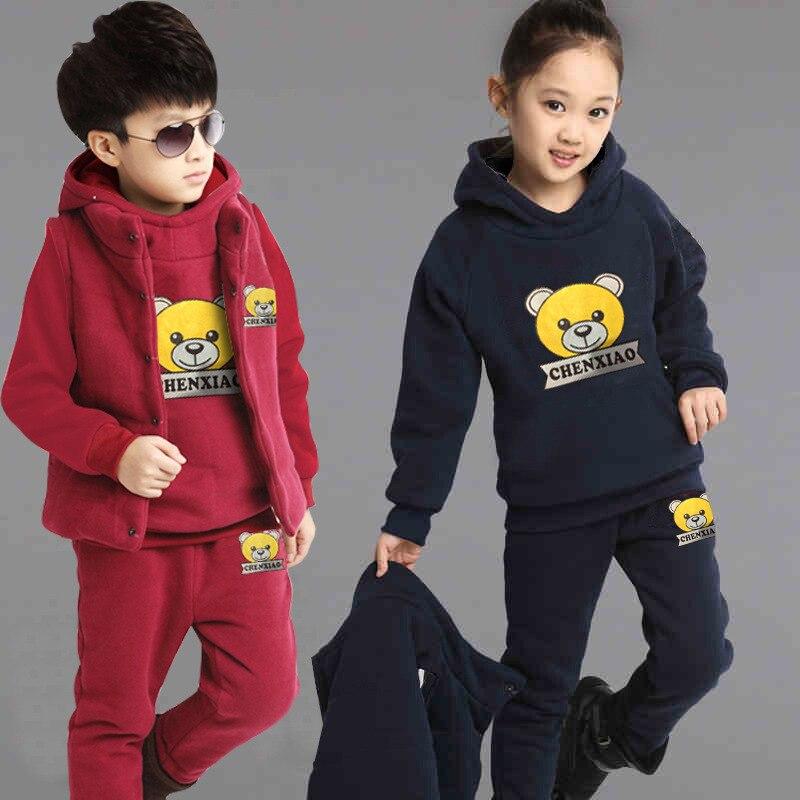 2b54c0251 Marca niño niñas ropa niño moda gruesa Sudadera con capucha de lana +  Pantalones + chaleco 3 piezas conjunto niños invierno Niño sudaderas trajes  Casuales