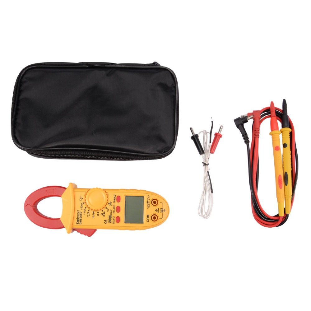 New Arrival Hot DM6268D Mini ACV DCV Ohm Digital Clamp Meter Tester Handheld Multimeter Ammeter Voltage with Portable BagNew Arrival Hot DM6268D Mini ACV DCV Ohm Digital Clamp Meter Tester Handheld Multimeter Ammeter Voltage with Portable Bag