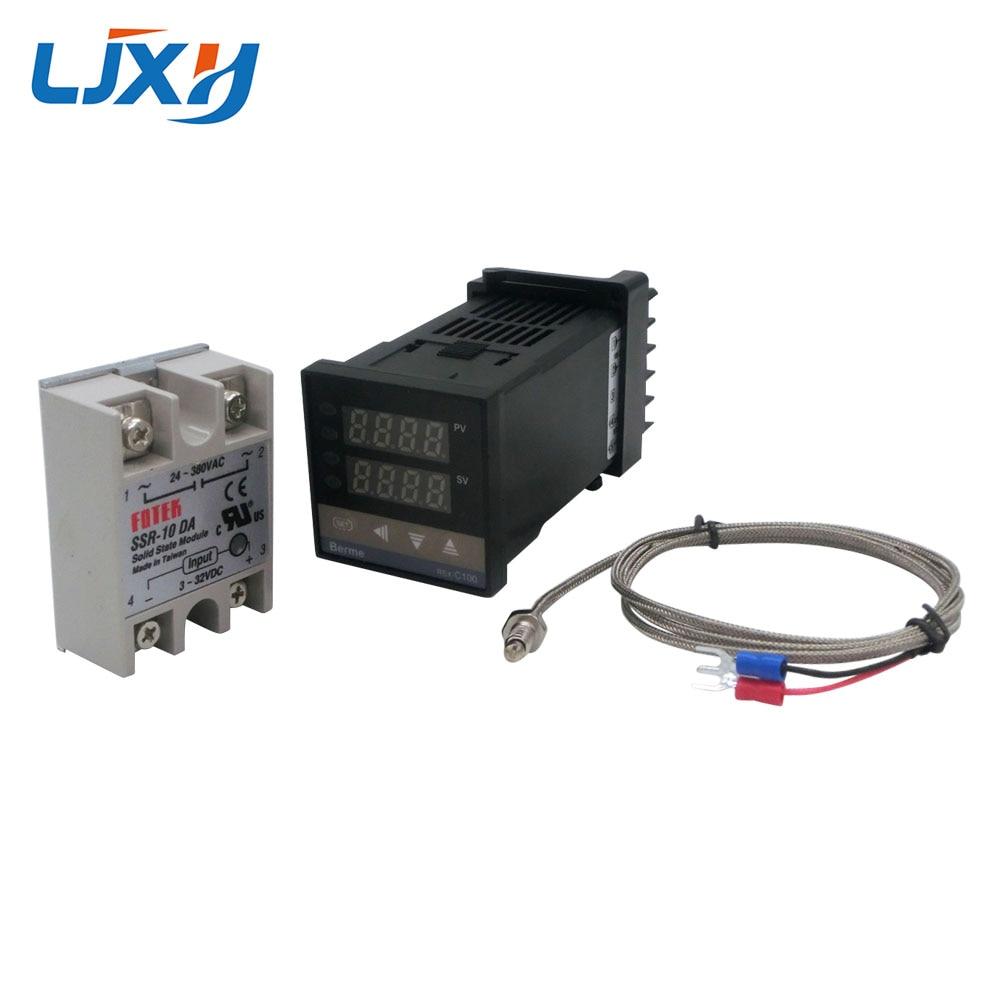 Цифровой PID контроль температуры Лер термостат REX C100 Тип K термопары зонд SSR реле для контроля температуры нагревателя-in Запчасти для электроводонагревателей from Бытовая техника
